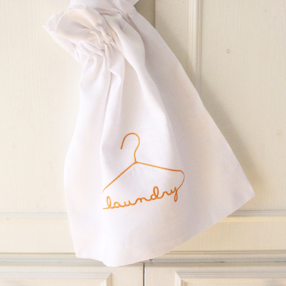 100% linen embroidered laundry bag