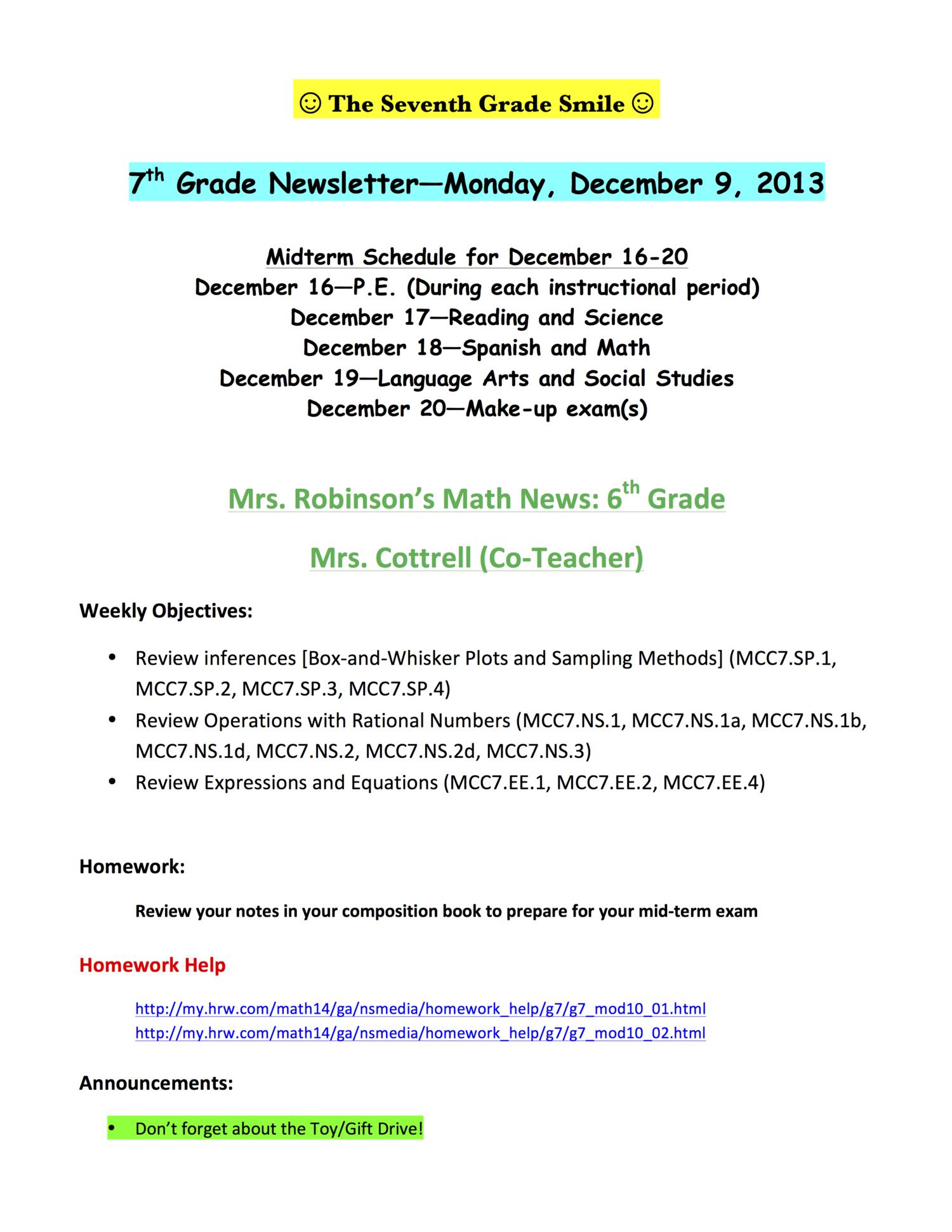 Monday, December 9, 2013 — Hapeville Charter Middle School