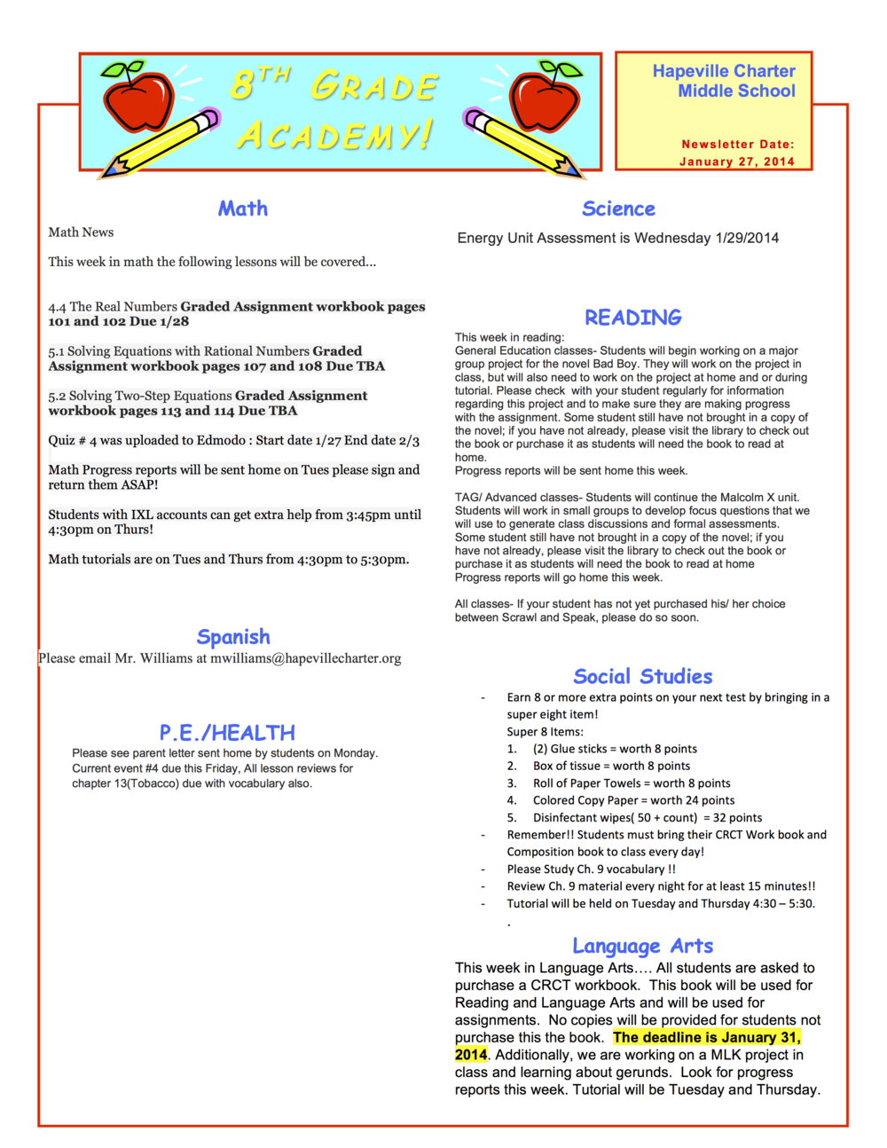 8th grade newsletter January 27A.png