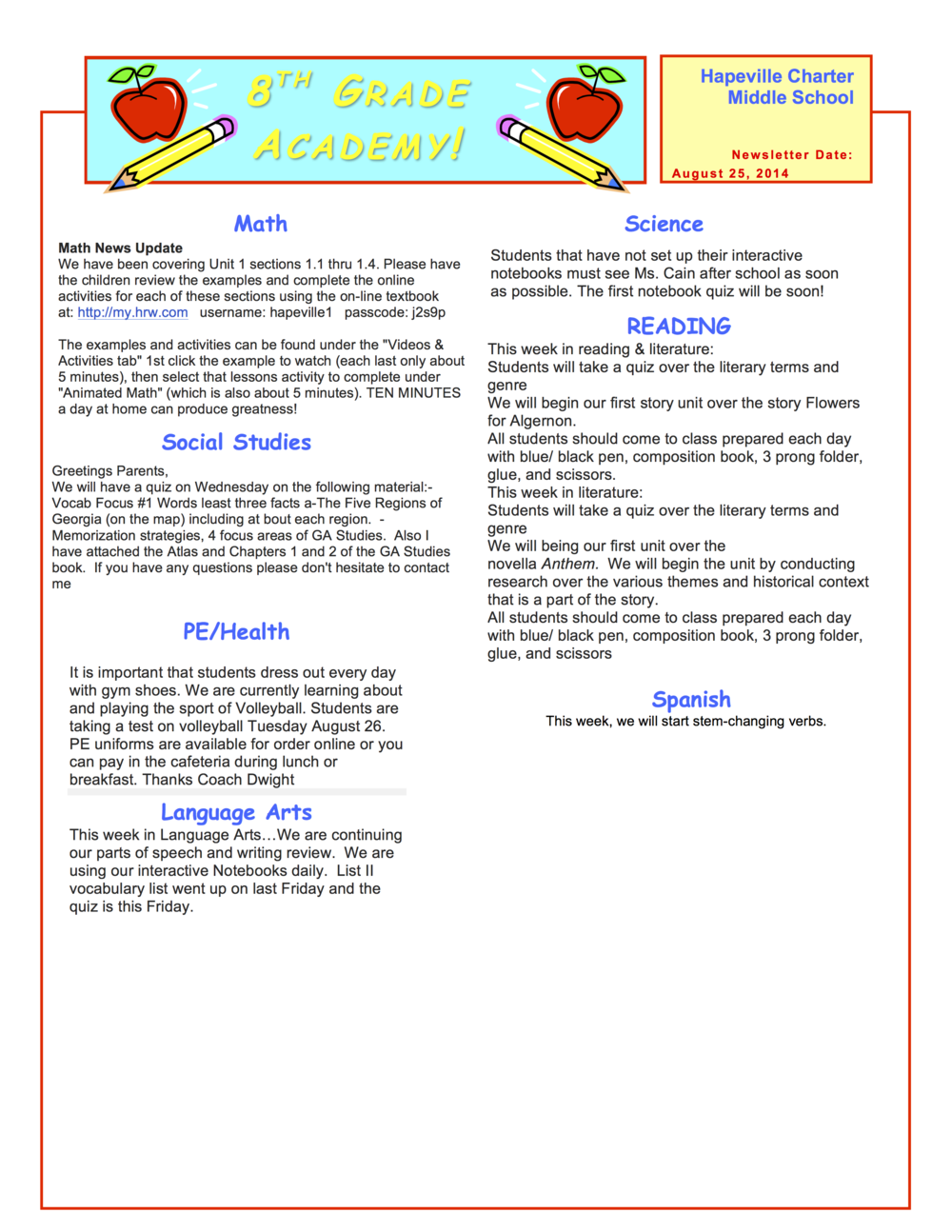 8th grade newsletter