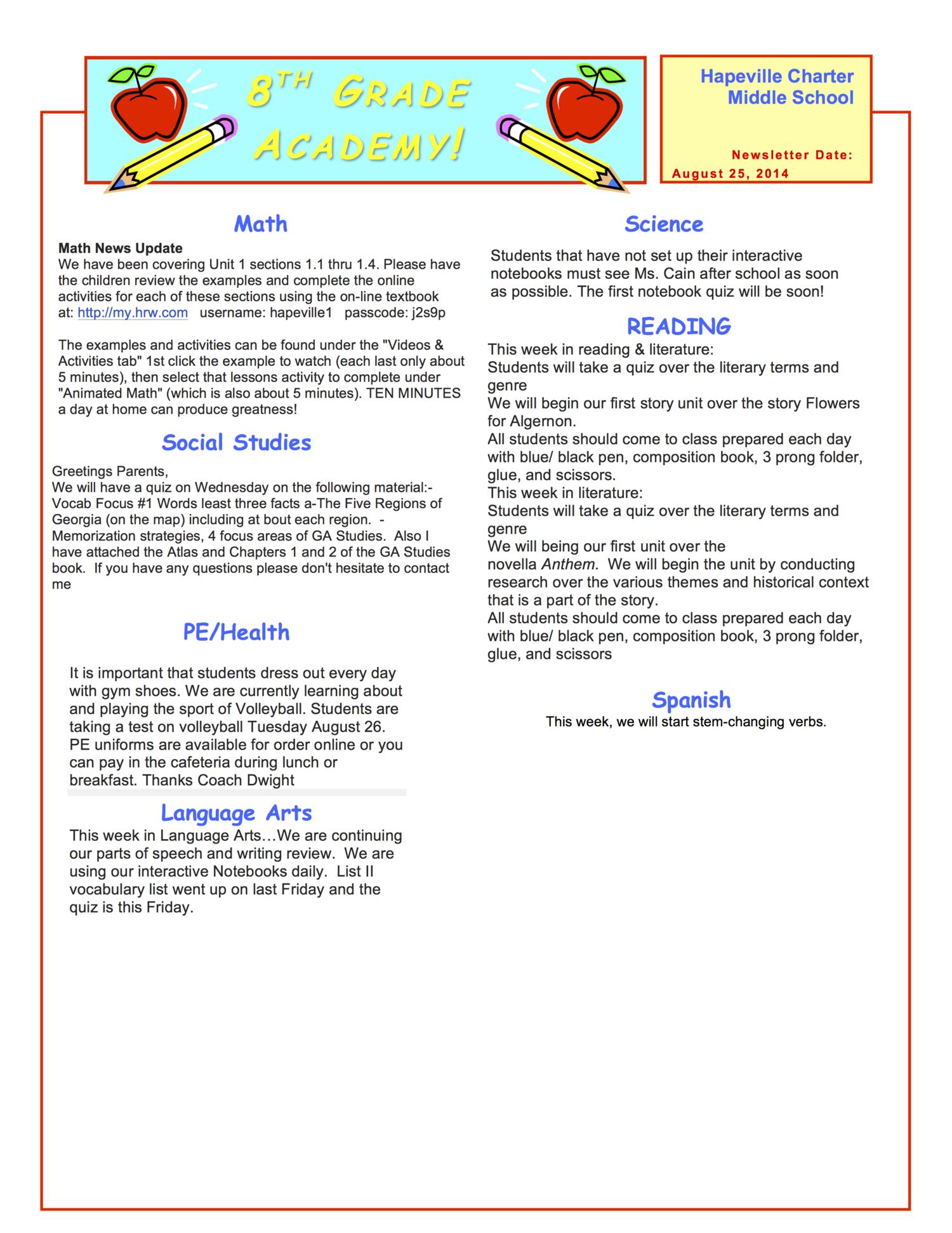 Week Of August 25 29 2014 Hapeville Charter Middle School
