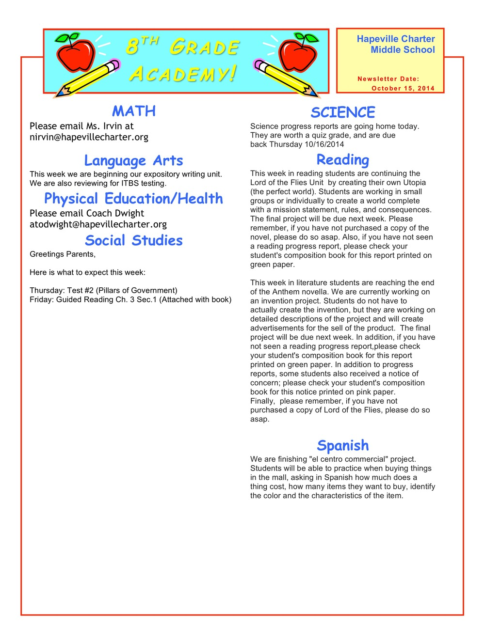 Week Of October 13 17 2014 Hapeville Charter Middle School