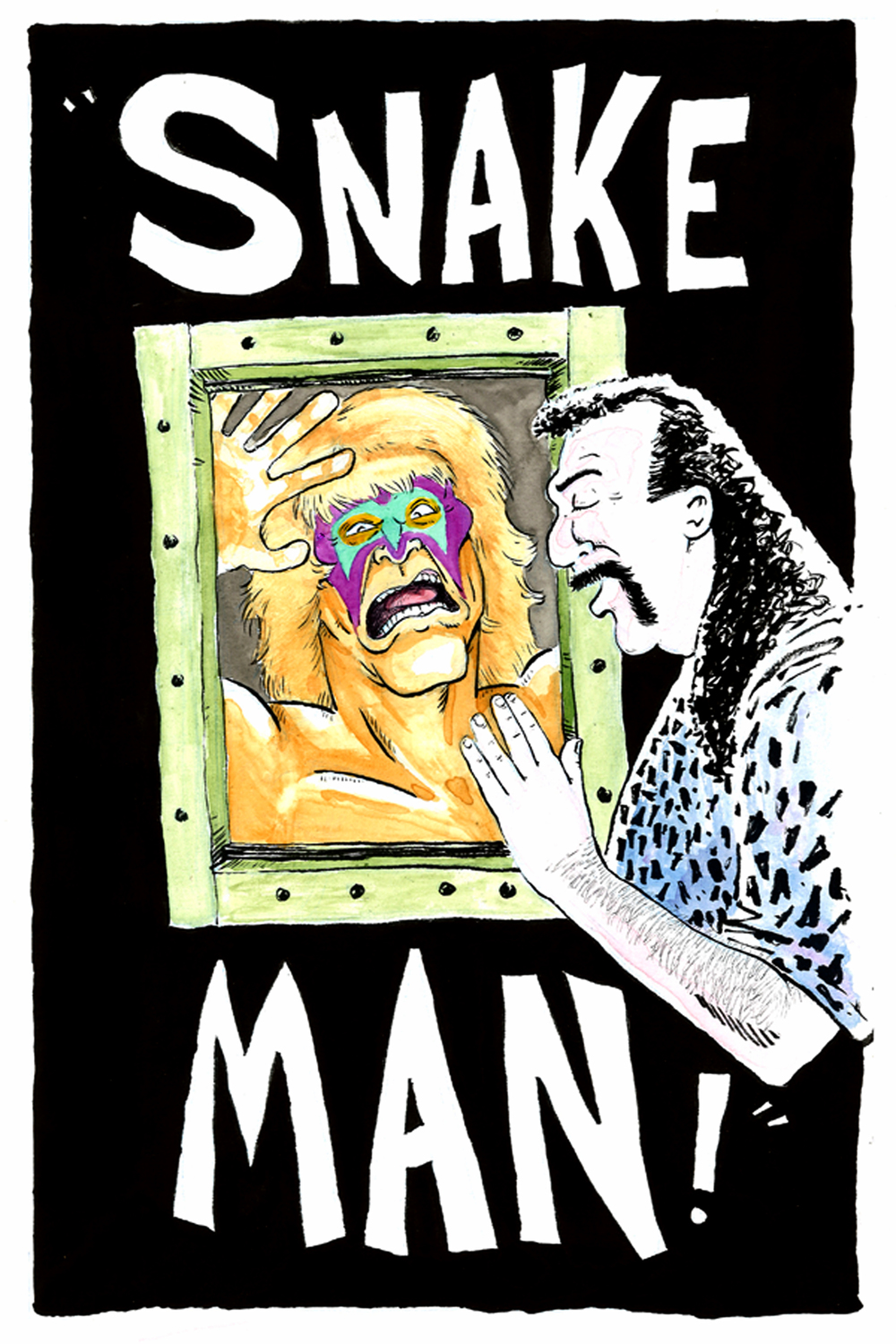 """SNAKE MAN!"" Micron pens, India ink, and water color on bristol board.   Copyright 2014 Bo McGee/ CheckThisOutBabe Media."
