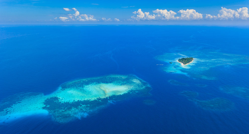 Aerial views of Lankayan Dive Resort