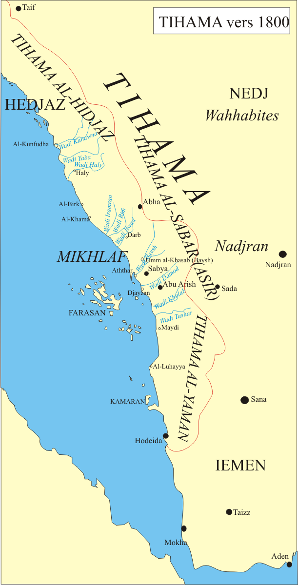Tihama is a coastal region extending from Hijaz to Hodaidah*. Part of Tihama now belongs to Saudi Arabia (since the Taif Treaty), when Talking about the Yemeni Tihaman Hirak, we are talking about the regions that belong to Tihama within the Yemen Border. (image via wikimedia.com)