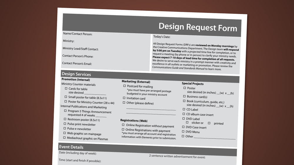 Design Request Form  Vintage Church Resources