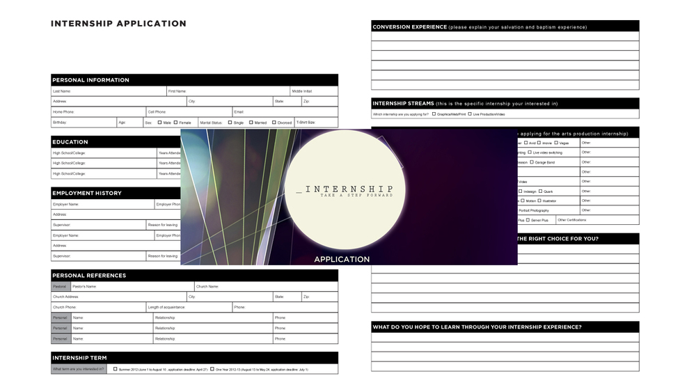 Internship Application Template Vintage Church Resources