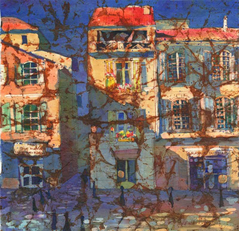 France Arles watercolor batik painting