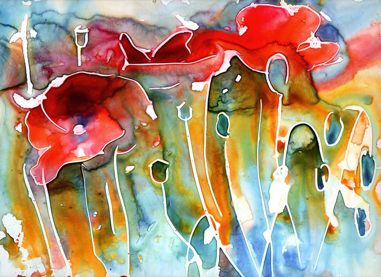 poppy field watercolor on yupo painting