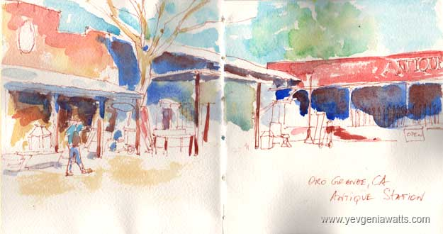 Oro Grande Antique Shops Route 66 Sketch Watercolor
