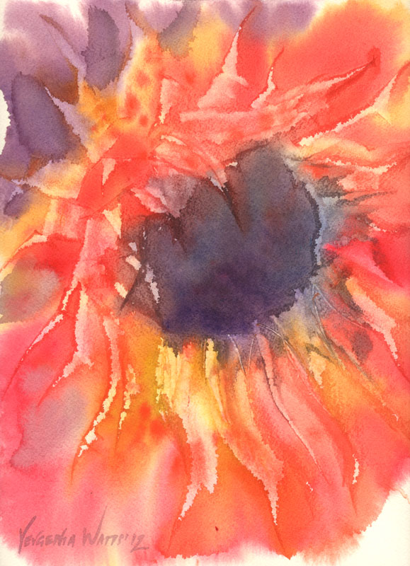 red sunflower original painting for sale