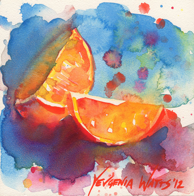 watercolor painting on Aquabord orange quarters