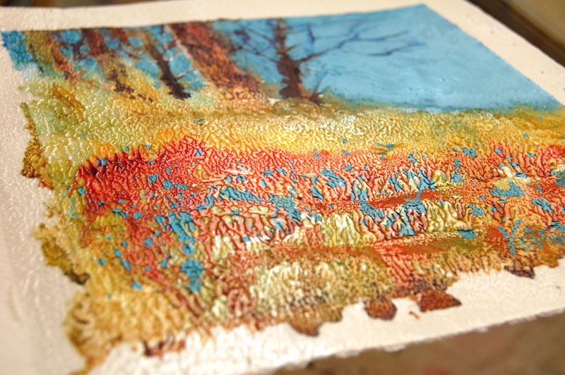 mixed media painting closeup