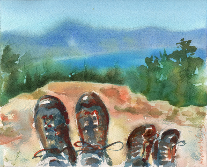 adult and child shoes hiking painting