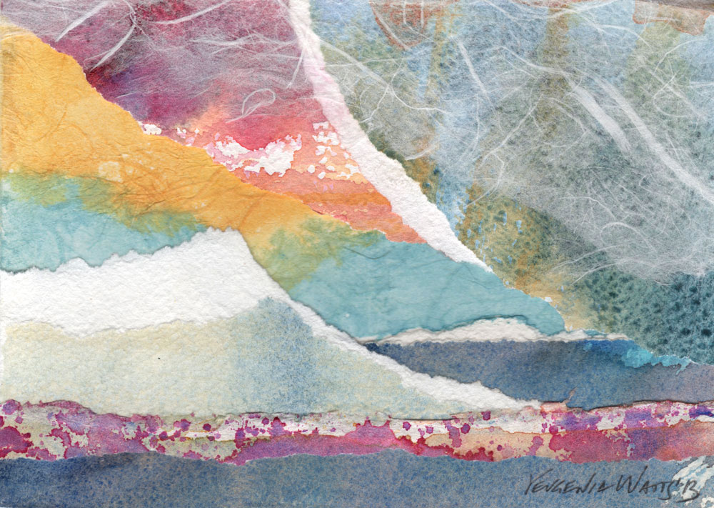 watercolor and rice paper collage for sale