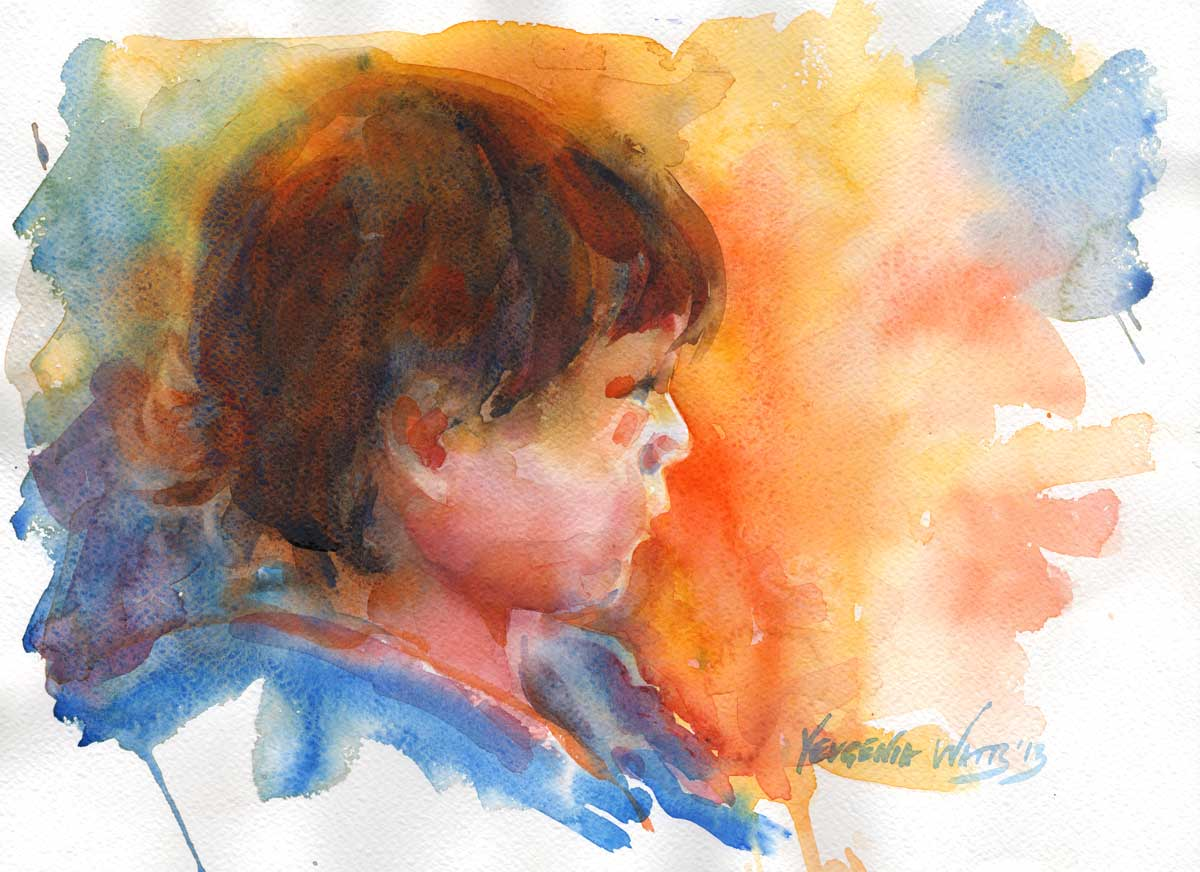 colorful painting of a little girl in watercolor