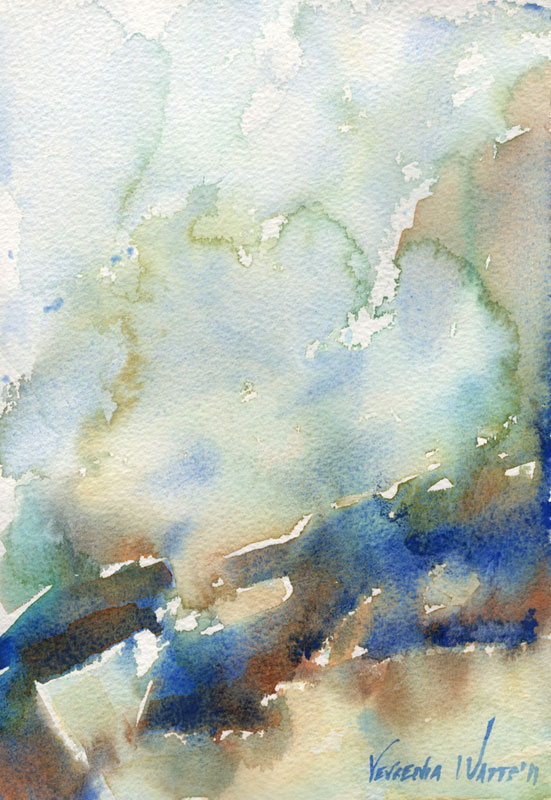 abstract watercolor painting Niagara Falls original