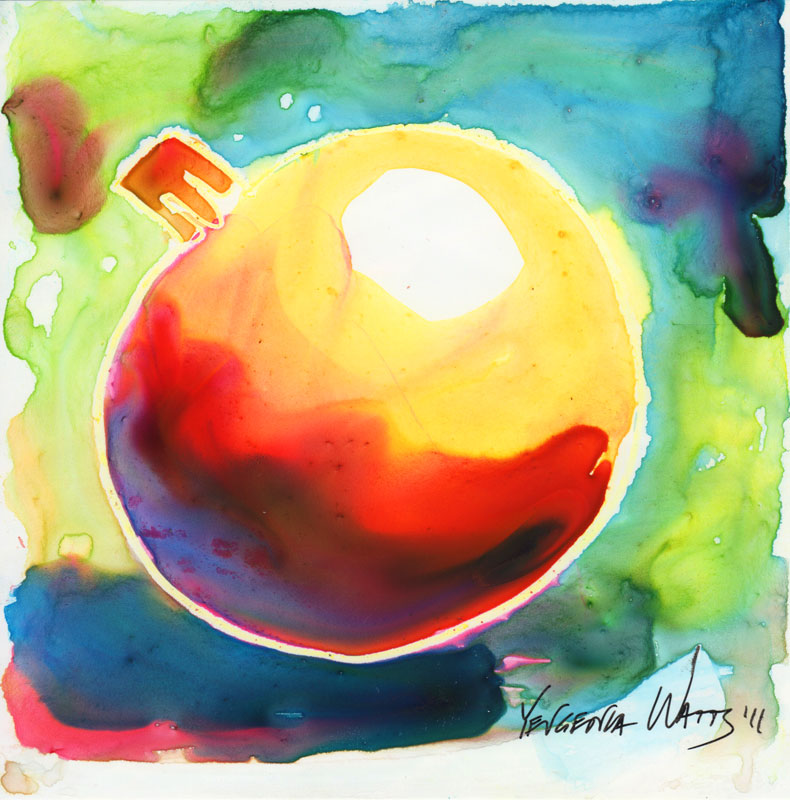 christmas tree ornament ball watercolor and crayon on yupo painting