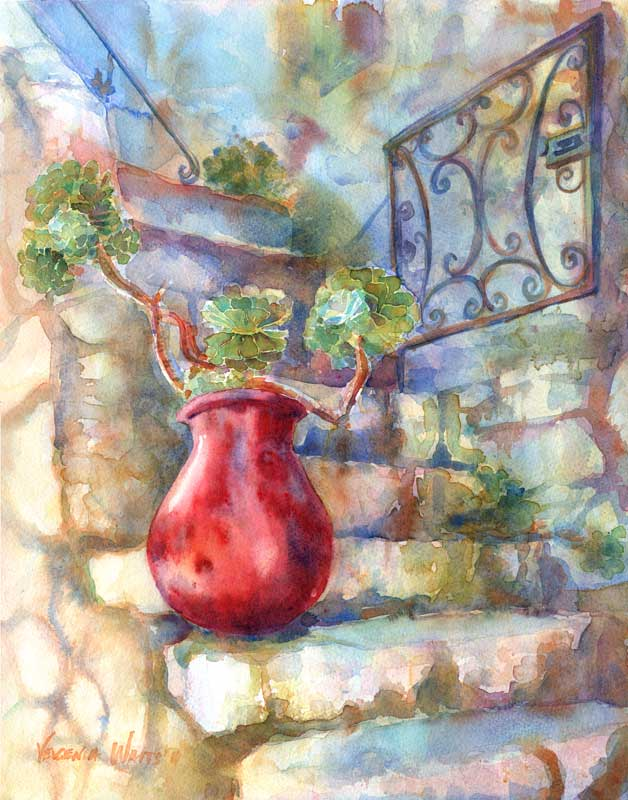 red pot on stone stairs watercolor painting european street scene