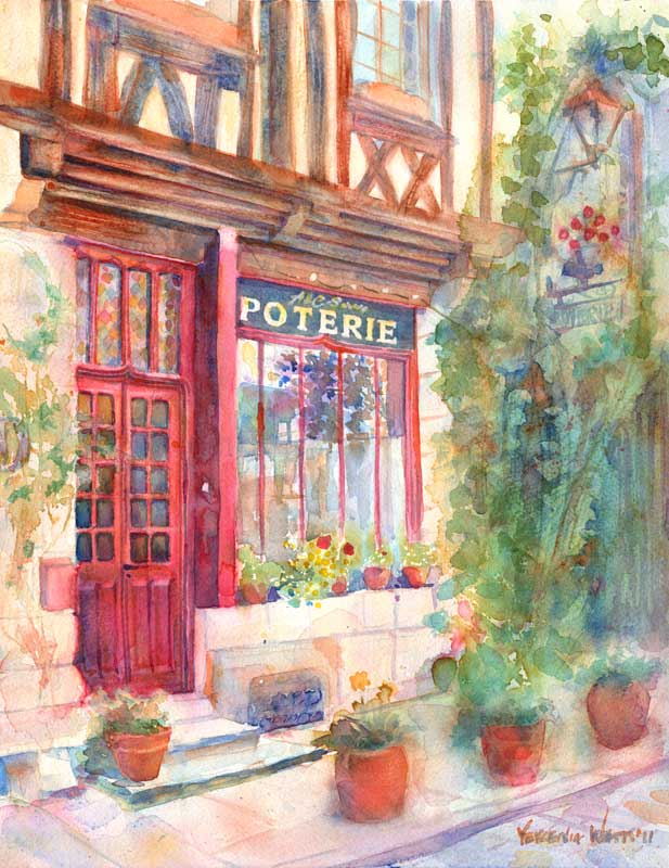 poterie france European street scene painting watercolor