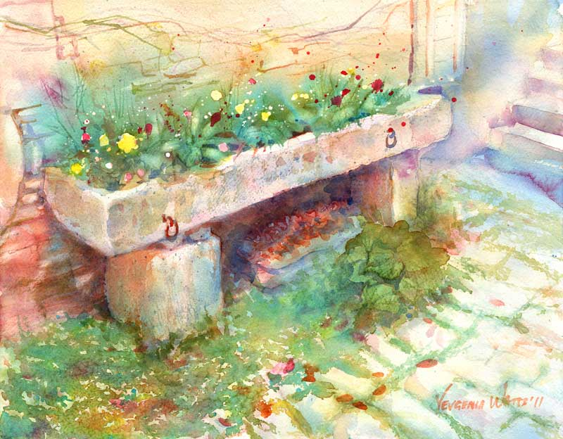 planter on cobble stone street european watercolor painting