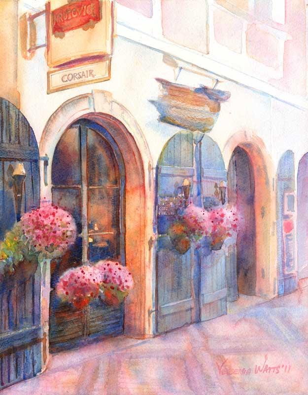 European street scene restaurant in prague