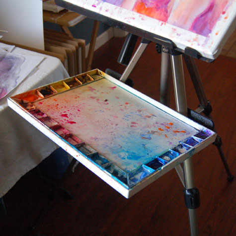 Plein Air Easel With Paint Brush Holes