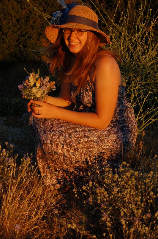 genia with flowers