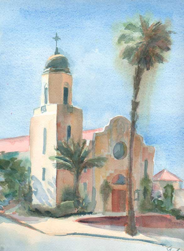 oceanside church watercolor
