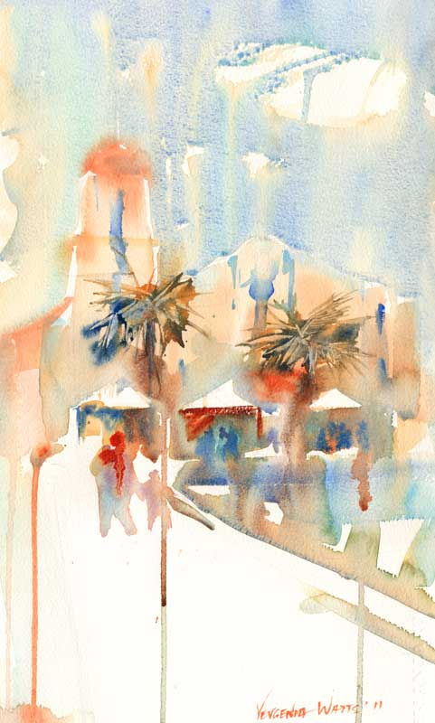 oceanside california church watercolor painting