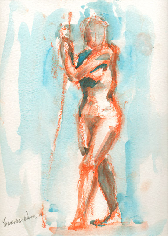 sanguine and watercolor sketch of a nude female figure with staff