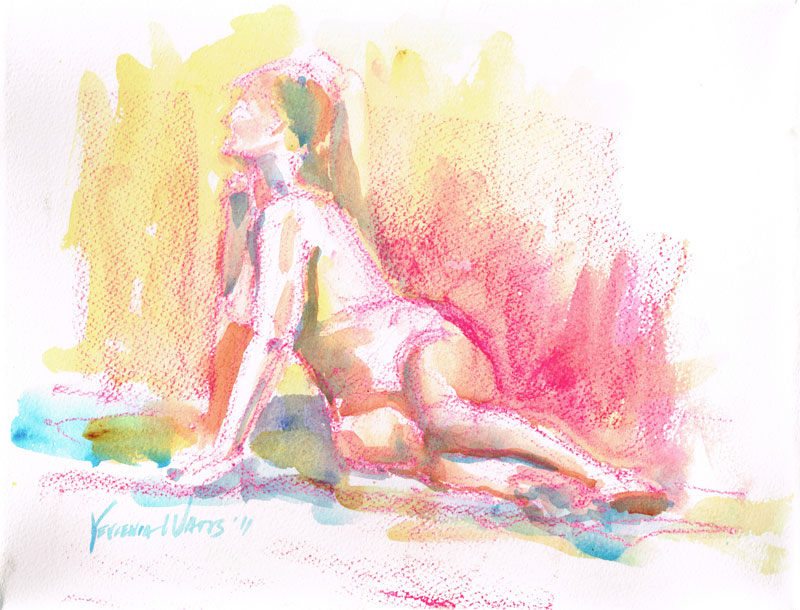 sitting female nude figure nupastel drawing with watercolor