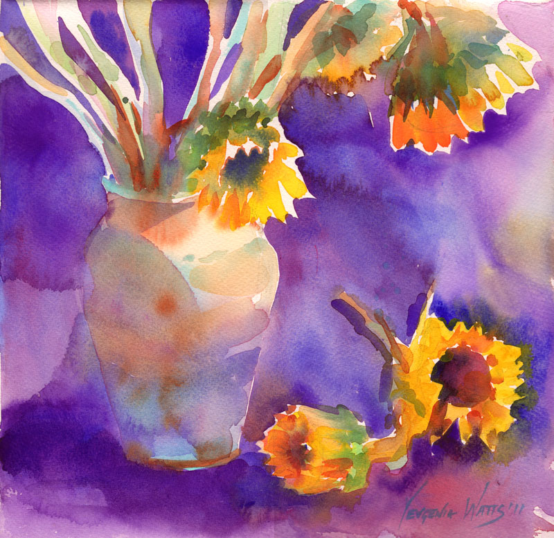sunflowers on purple loose floral watercolor painting