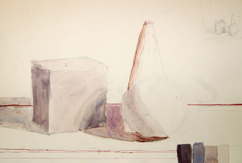 Geometric bodie still life in watercolor