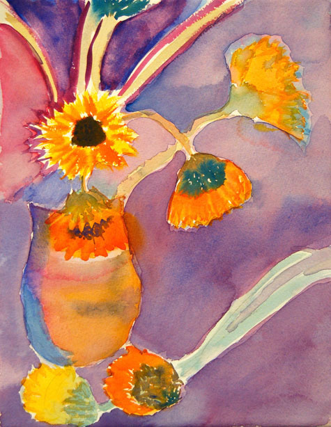 sunflowers adult student painting watercolor