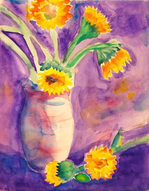 watercolor painting by adult student vase with sunflowers