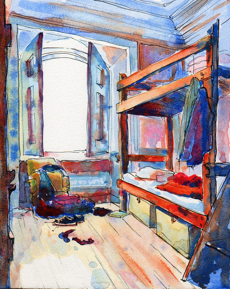 hostel room lisboa portugal ink and watercolor painting