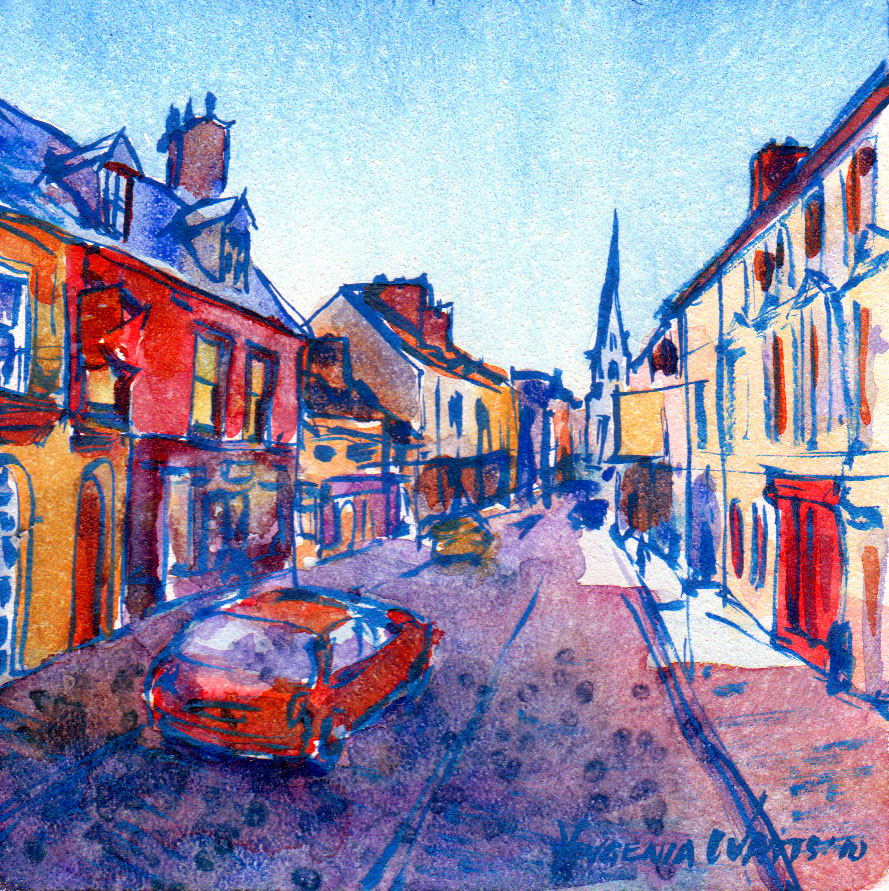 ennis ireland watercolor and ink painting street
