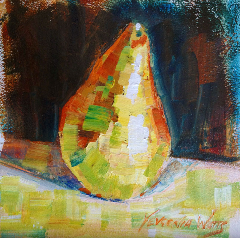 green pear acrylic painting