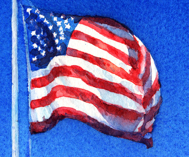 american flag watercolor painting