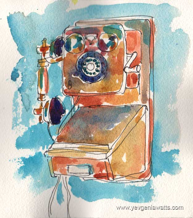 antique telephone sketch