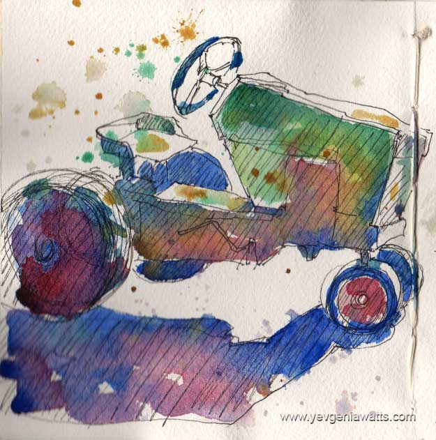 Vintage toy tractor sketch