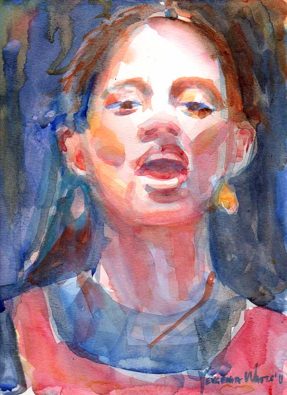 audition for shakespeare a portrait a day 60 young woman speaking watercolor painting