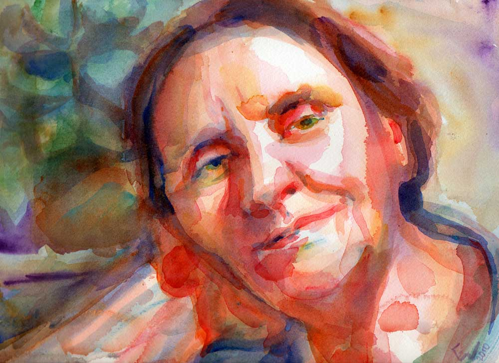 woman leaning on her hand watercolor painting
