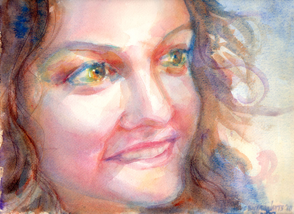 girl face smiling big eyes watercolor portrait painting