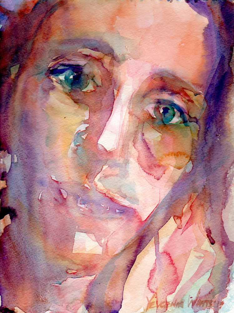 female face watercolor portrait painting