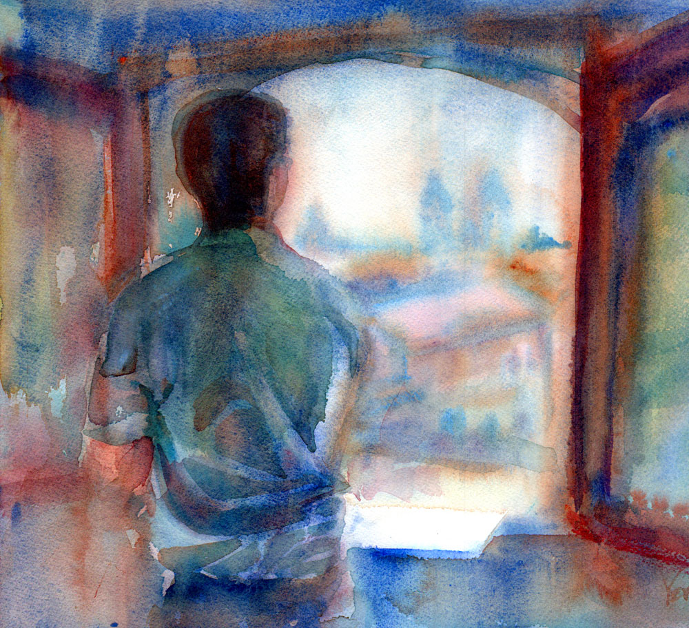 man standing by an open window watercolor painting