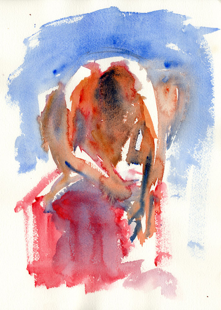 watercolor painting man figure