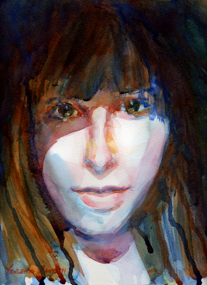 young woman face watercolor painting