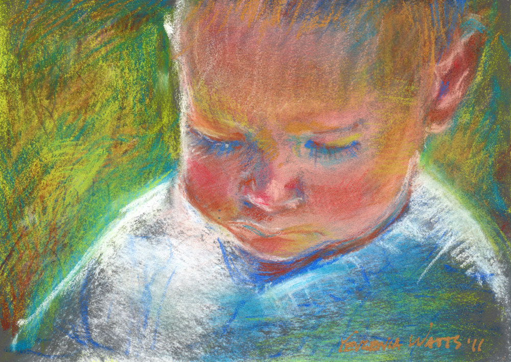 baby boy impressionist pastel painting